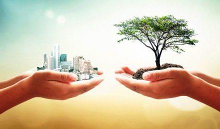 Duas mãos segurando prédios e árvore | Universe Empresarial: energia solar a favor da sustentabilidade